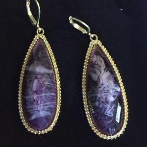 Purple natural stone earrings